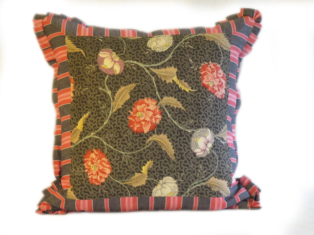 Vintage Printed Linen and Ticking Pillow