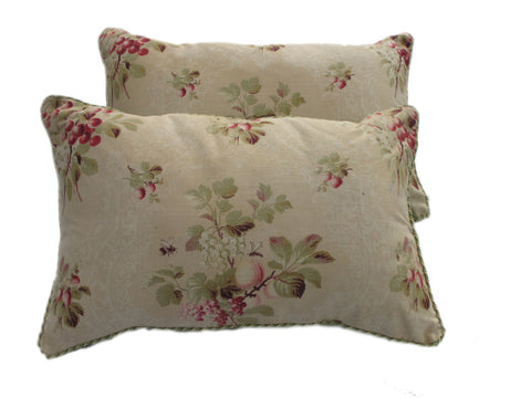 Vintage English Print Pillows/Pair