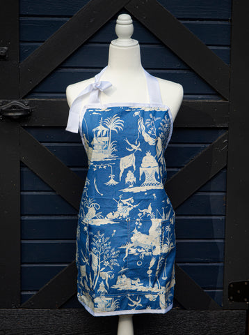 Blue Chinoiserie Work Apron