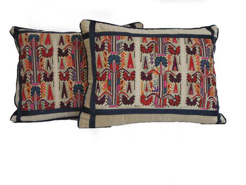 19th C Embroidered Pillow