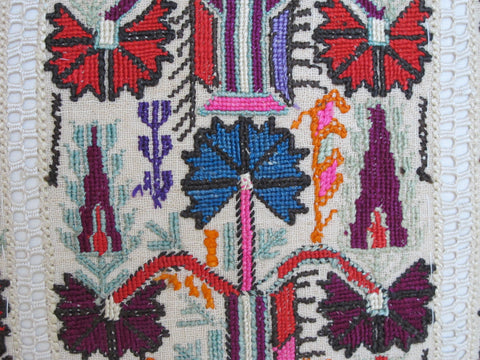19th century embroidered pillow by mary jane mccarty
