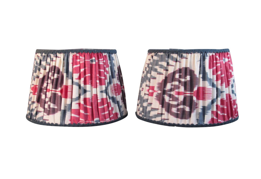 Pleated Silk Ikat Lampshades / Pair