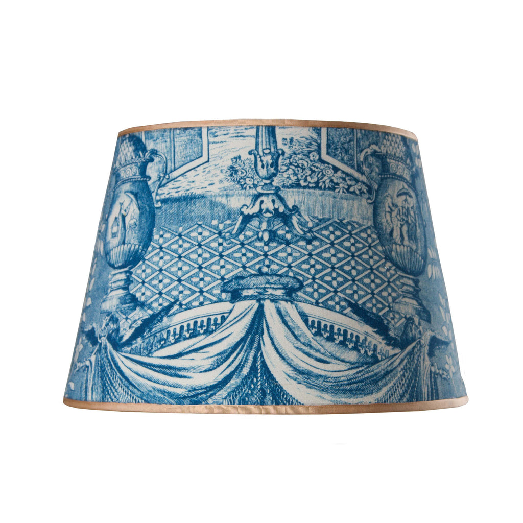 Ming Urn indigo lampshade by Mary Jane McCarty