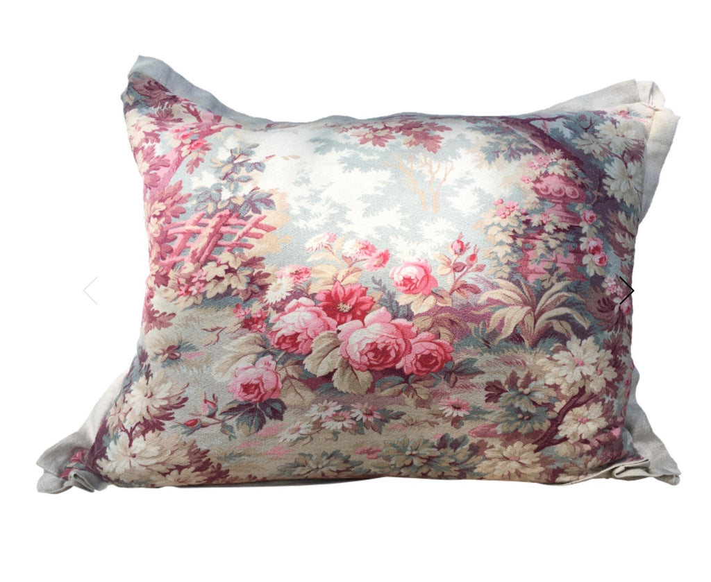 19th Century French Floral Pillow
