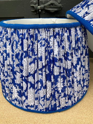 Shirred Blue and White Lampshades