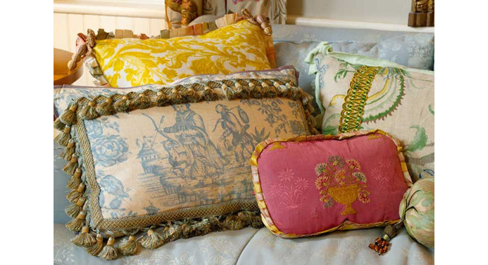 Antique textile embellished pillows by Mary Jane McCarty