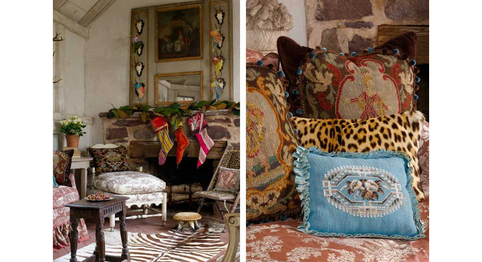 Beautiful needlepoint and vintage fabric pillows by Mary Jane McCarty