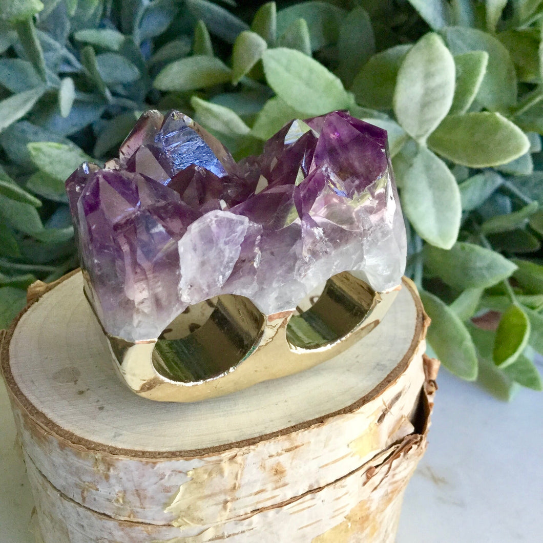 Amethyst Double Ring SizeQ+R