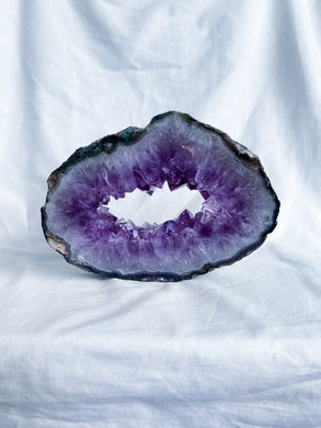 Amethyst Geode Slice with Okenite