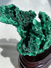 Load image into Gallery viewer, Fibrous Malachite on Wooden Stand
