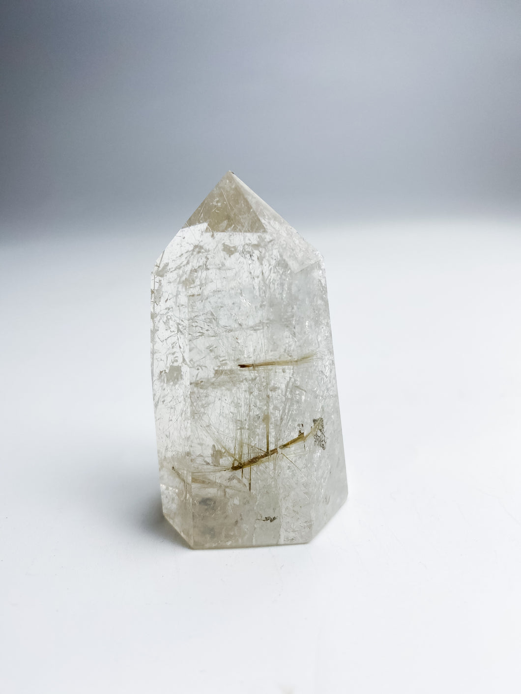 Clear Quartz Rutilated Gold Point