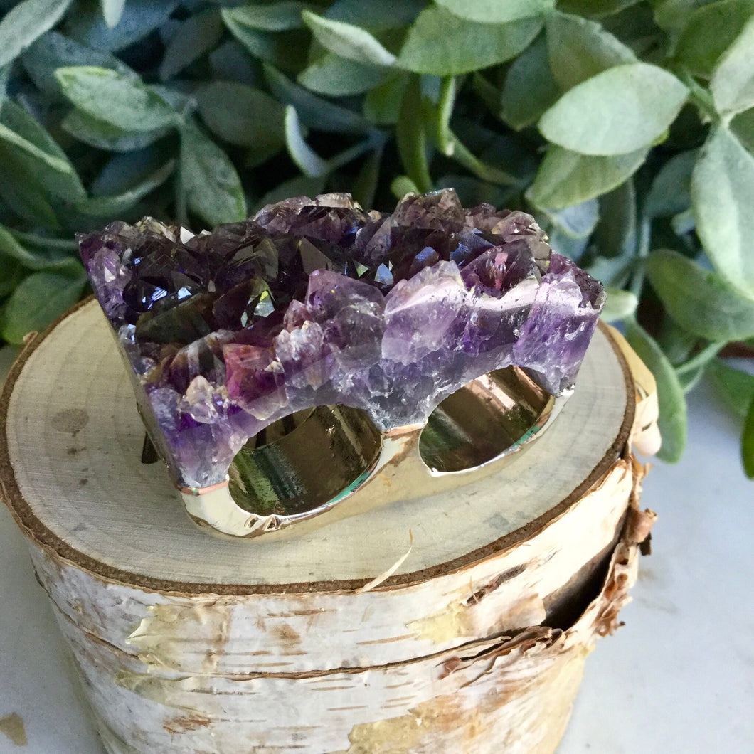 Amethyst Double Ring SizeN+O