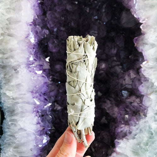 Pure white sage smudge stick