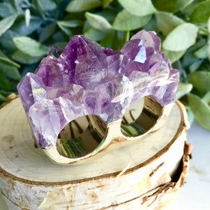 Amethyst Double Ring SizeO+P