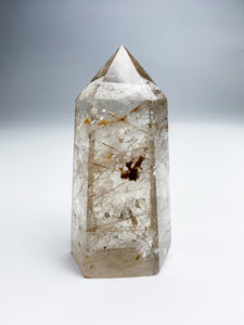 Smoky Rutilated Quartz Point with inclusions