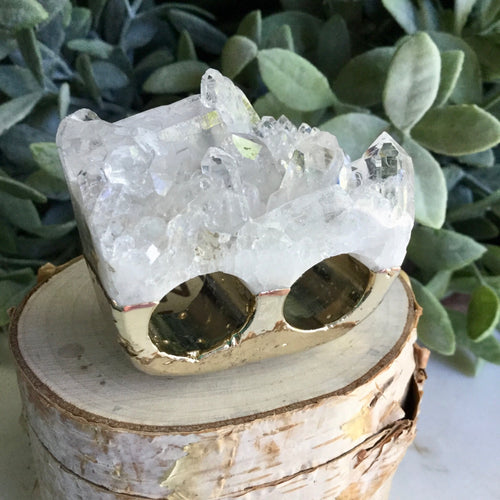 Clear Quartz Double Ring SizeO+P