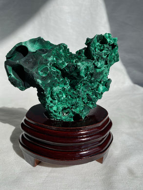 Fibrous Malachite on Wooden Stand