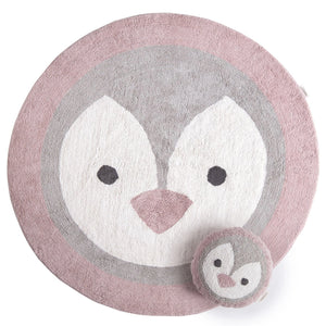 Tappeto e cuscino 100% cotone - Pinguino - Apple Pie