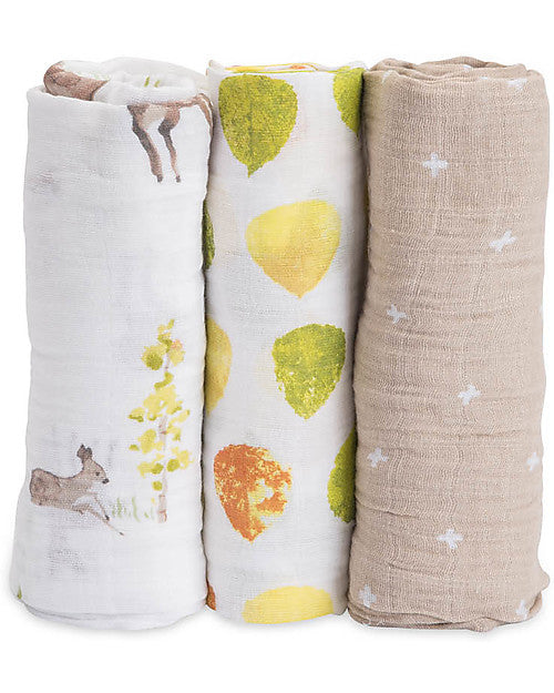 Set Regalo di 3 Coperte Swaddle Milleusi - Cerbiatti - Apple Pie