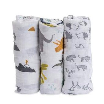 Set Regalo di 3 Coperte Swaddle Milleusi - Dino Friends - Apple Pie