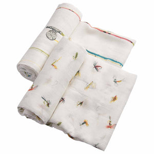 Set di 2 Coperte Swaddle Deluxe in bamboo - Gone Fishing - Apple Pie