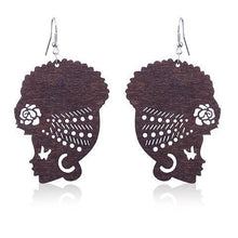Load image into Gallery viewer, African Queen Wooden Earrings