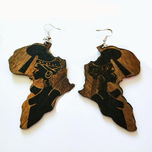 The Original Woman Motherland Wooden Earrings