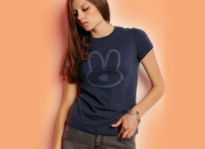 Women's navy Bunny logo tee shirt