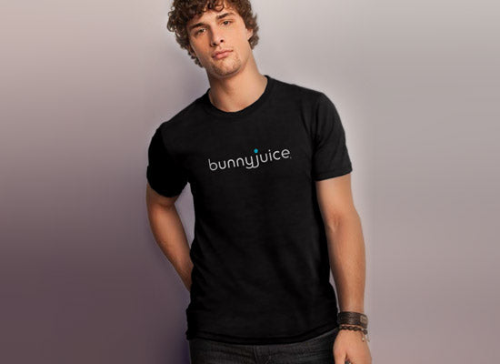 men's black bunnyjuice logo tee