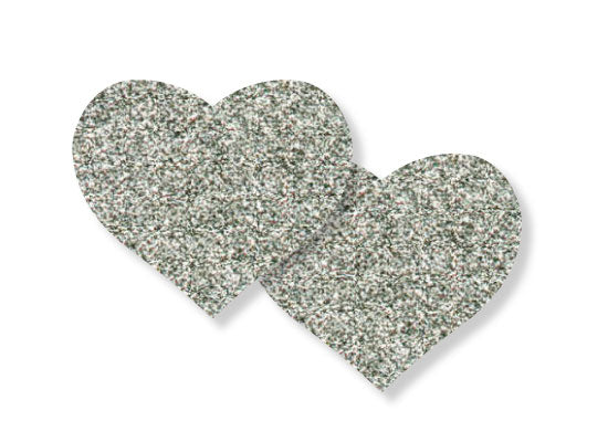 Pastease silver glitter Hearts design is 3 inches wide by 2.5 inches tall