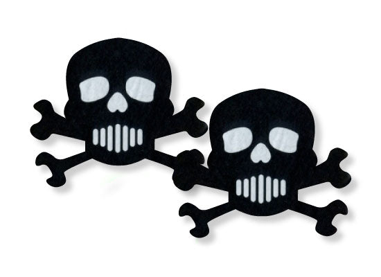 Pastease Black & White Skulls & Crossbones design is 3.3 inches wide by 2.8 inches tall