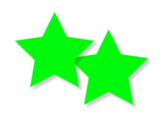 Pastease glow-in-the dark Stars design is 3 inches wide by 3 inches tall