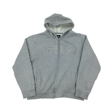 Load image into Gallery viewer, Fila Zip Hoodie Grey - womans/Large