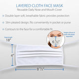 Core Products Layered Cloth White Face Mask Tie Back (5 Pack)