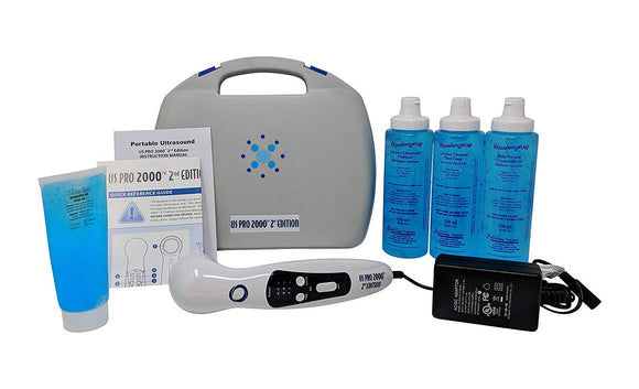 US Pro 2000 2nd Edition Portable Ultrasound Unit + 3 Pack Ultrasound Gel - SpaSupply