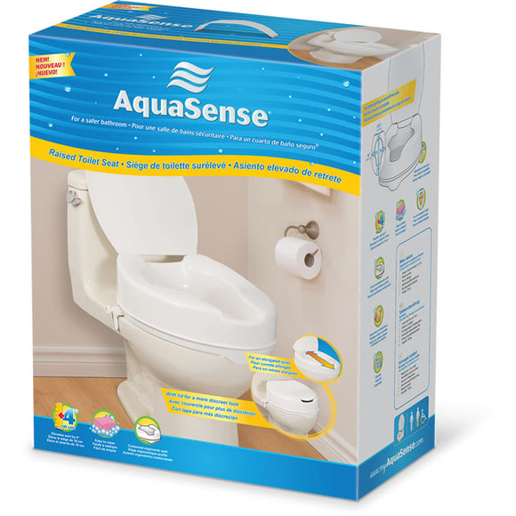 AquaSense Elongated Raised Toilet Seat with Lid - SpaSupply