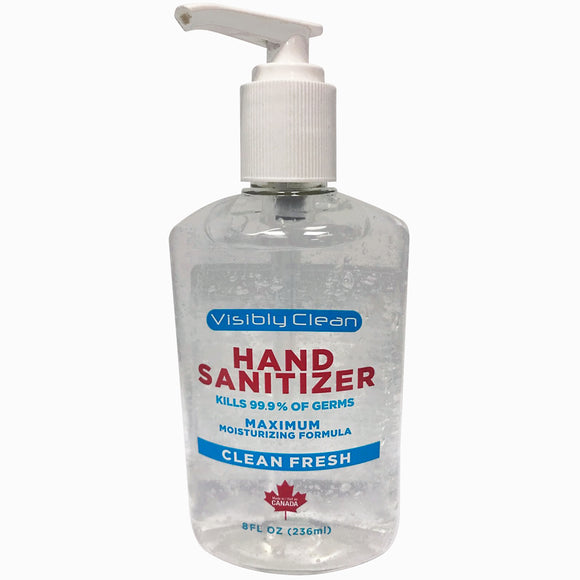 Visibly Clean Hand Sanitizer Made in Canada 8 oz. (12 Pack)