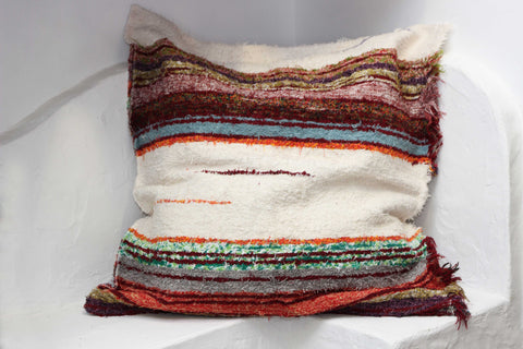 Off-white and multicoloured handmade floor cushion cover
