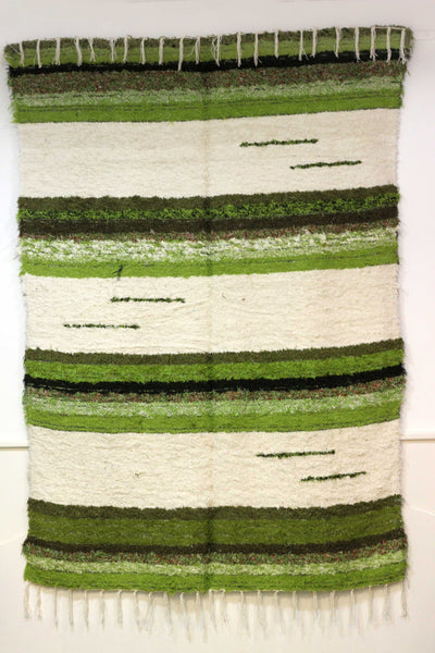 Off-white and green handmade reversible large rug
