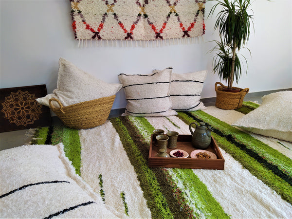 Off-white and green handmade reversible shaggy-like eco large rug