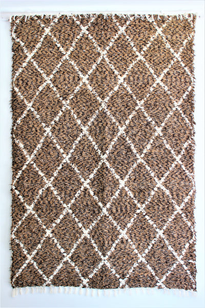 Mottled brown white Berber inspired thick eco rug handmade in Andalucia using recycled cotton - brown side