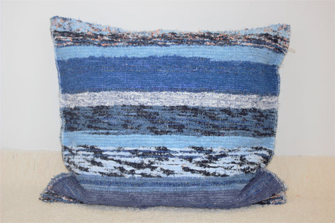 Blue and turquoise handmade cushion cover