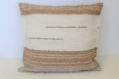 Off-white and beige handmade cushion cover