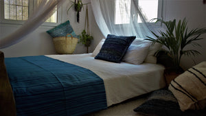 Blue throw woven in Andalucia using recycled thread - eco throw