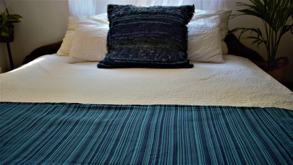 Blue throw woven in Andalucia using recycled thread - eco throw detail