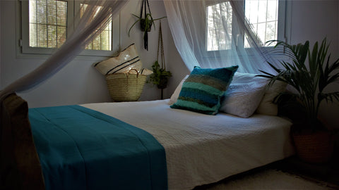 Turquoise throw woven in Andalucia using recycled thread - eco throw