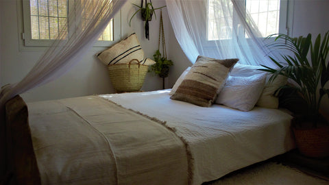 Light beige throw woven in Andalucia using recycled thread - eco throw