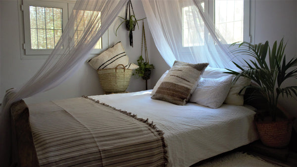 Beige throw woven in Andalucia using recycled thread - eco throw