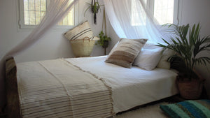 Cream throw woven in Andalucia using recycled thread - eco throw