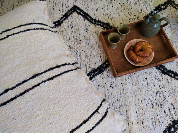 Nordic handmade floor cushion cover - off-white with black lines